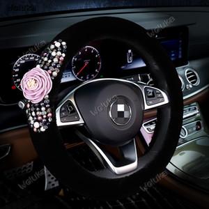 Inverno de pelúcia cobertura de volante costura conjunto de pérolas flor com desenhos animados bonitos do interior do carro suprimentos CD50 Q03
