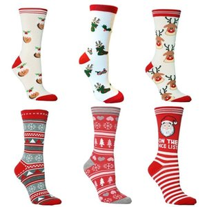 HOT 100pcs Christmas socks Santa Claus elk female and men personality mid tube socks autumn winter warm lovely socks 6style T500251
