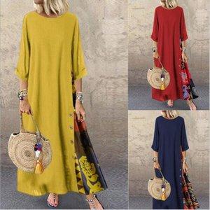 Patchwork Sundress Women Casual Round Collar Halfsleeve Dress Summer Vintage Cotton Party Long Shirt Dresses Femme Robe