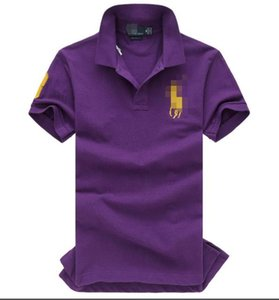 Violet V-Neck Pure Color Menswear Leisurely In The Spring And Autumn T-Shirts With Short Sleeves 2046