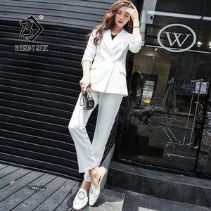 2020 Blazer mujeres del otoño juegos de pantalones de manga completa Turn-down Collar solo botón Office Lady Casual estilo de la venta caliente S96912D