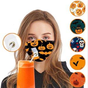 Máscaras Drink Straw Festa Mask Halloween Pumpkin Adulto algodão reutilizável lavável Dustproof Rosto de protecção cobrir a boca 6 estilos OWA872