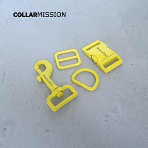 10pcs / lot (fivela de metal + ajustar fivela de fecho + D + anel cão metal) DIY 25 milímetros colar de cão correias acessório amarelo nós fornecemos gravação a laser LOGO