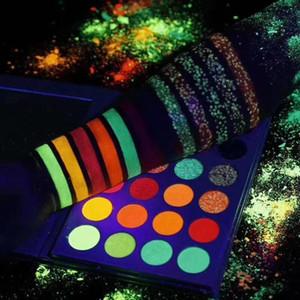 Макияж Kit Aurora Glow Eyeshadow Stage Clubbing Неон в Blacklight УФ свечение в темноте Флуоресцентные Eye Shadows