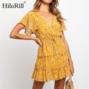 HiloRill Vestidos Verão Mulheres 2020 Boho Floral Imprimir Beach Dress Sexy V-neck manga curta A linha Mini vestido de festa Vestidos