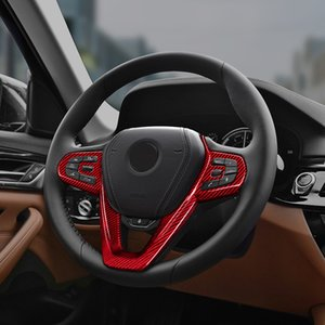 Red Glass fiber Steering wheel trim cover Car interior Auto Parts For BMW 5 Series G30 520d 530d xDrive