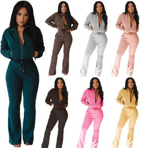 Women jacket flared pants outfits s-2xl 2 pieces set solid color hoodie Leggings tracksuits Fall Winter clothing yoga jogging suits 3934