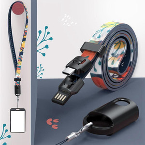 Neck Lanyard Datenkabel Universal-kreativer USB-Schnell-Ladekabel Geeignet für Handy-ID-Karte Schlüsselanhänger Straps Partei-Bevorzugung Geschenk LJJP386