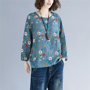 Blue Vintage Pullovers Long Sleeve Autumn Tops Floral Hoodies Sweatshirt Literary Cotton And Linen Women Clothes Print Sudaderas