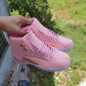 2020 Jumpman 12 Mid rose fluorescent Femmes Chaussures de basket-12s filles Baskets Baskets Baskets des chaussures Zapatos Taille 36-40