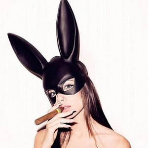Cosplay conejo Rabbit Ears Marcos Pascua muchacha de las mujeres atractivas de la máscara de orejas de conejo larga esclavitud máscara del partido de la mascarada de Halloween cosplay Máscara WJvq #