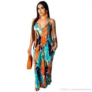 Women Dresses Beach Cotton Colorful Dresses Sexy Floral Casual Sundress Spaghetti Strap Dresses 19ss Designer Summer