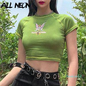 Sıcak Satış e-kız Kelebek Grafik ve Harf Baskı Dikiş Yeşil Mahsul Y2K Yaz Grunge Stil O yaka Kısa Kollu T-shirt Tops