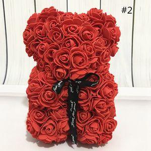 Día 13Style 25CM Rose oso de peluche PE plástico flores artificiales de jabón de espuma Rosa Flor de San Valentín regalo de Navidad Decoración GGA3753-1