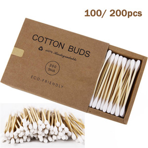 200pcs Double Head Cotton Swab Bamboo Cotton Swabs Wood Sticks Disposable Buds Cotton for Nose Ears Cleaning Tools 0154