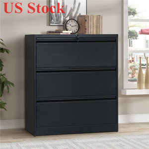 US Stock Black 3 Drawer Heavy-Duty Lateral File Cabinet Size 35.4W 17.7D 40.3H WF192115BAA