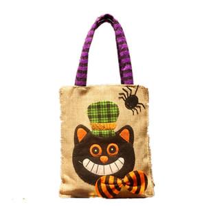 Halloween-Karikatur-Handtaschen der neuen Art-Kürbis Printed Geschenke Tasche Kids Party Festival Candy Bag Halloween-Kürbis Leinentragetaschen 060818