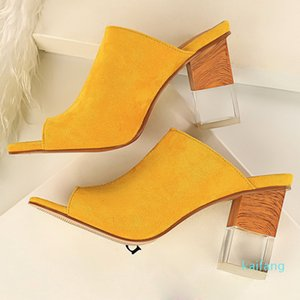 Hot sale-2020 Women 9cm High Heels Mules Shales Yellow Green Slides Female Block Clear Peep Toe Slippers Sexy Summer Heels Luxury Shoes