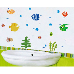 2020 Sea Fish Spit Bubbles Wall Decor Children Room Wall Sticker Can Remove Wall Cartoon Decor PVC Glass Stickers