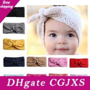Orejas Las vendas del bebé de punto conejito de chicas bandas del pelo del Bowknot de los niños accesorios para el cabello precioso niños headwraps 12 color