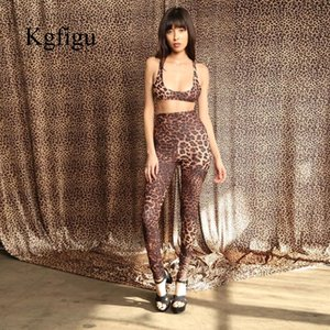 KGFIGU 2020 Women Sexy Leopard Two-Piece Suit Sling Top And Trousers Set High Waist Short Top Elegant casual Woman Clothes