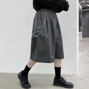 3 Colors Men Metal Pendant Casual Elastic Waist Calf-length Suit Pant Male Summer Streetwear Hip Hop Loose Wide Leg Pants Mid peJ2#