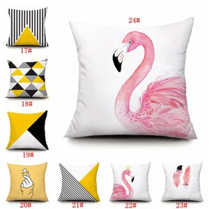 Nordic Geometric Decorative Pillows Cases Pink Flamingo Pattern Sofa Cushion Cover 45*45cm Soft Pillow Covers Home Decoration GWF2055