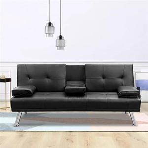 Nero convertibile divano letto con bracciolo / 2 portabicchieri / tessuto di lino / Gambe in metallo reclinabile Divano Mobili per la casa FACILE MONTAGGIO W36814055