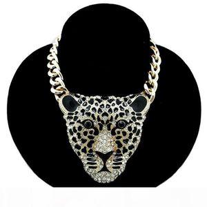 Colar Tiger Moda Mulheres Hiphop Rhinestone Cabeça Leopard Colares Retro Vintage longo Colar Exagero Jóias