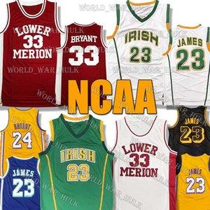 NCAA LeBron James Jersey 23 Colegio San Vicente María Lower Merion High School secundaria irlandesa 33 Bryant 2020 nuevos hombres Niños Jóvenes jerseys del baloncesto