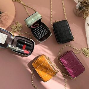 RAZALY cuero auténtico WOC monederos y los bolsos del bolso pequeño colgajo tarjeta Mini Con Espejo mujeres bolsos de cadena de embrague PSB2 #