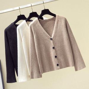 Herbst Winter Strick Cardigan Frauen Kaschmir Pullover Mantel 2019 Langarm Casual Reine V-Ausschnitt Strickjacke Lose Taste Feste Outwear 9Vic #