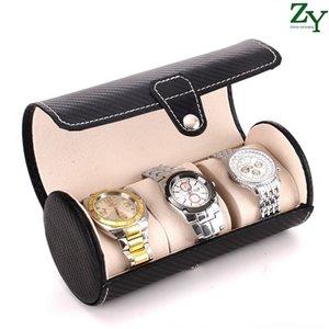 3 bits ronde fibre de carbone portable de stockage de stockage montre de cylindre du boîtier de boîte de montre en cuir Pu mkqCM