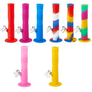 9'' short unbreakable water pipe staright bong non fading printing silicone bong glass bong dab rig thick glass bubbler Hookah dab rig
