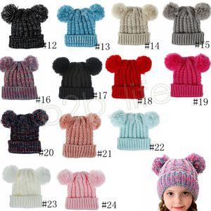 Kids Knit beanie hats children knitting crochet pompom hat 24Colors Baby Winter Warm Skullies Beanie Girl Ski Caps GGA3648-1