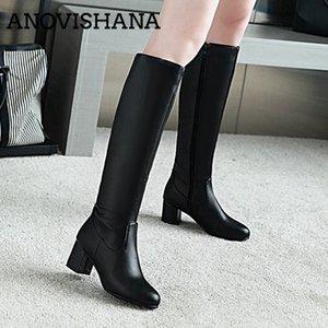 ANOVISHANA plus Size 34-43 Women Knee High Boots black chunky heel Ladies Casual winter shoes Zipper High heel Botas Mujer H163