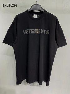 Etiqueta Vetements hombres de las mujeres camisetas de 1: 1 de alta calidad de gran tamaño 280g peinados de algodón Vetements Tees Vetements camiseta