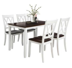 ABD STOK depo Masa Seti Ev mutfak masa ve sandalyeleri Ahşap Yemek SH000088AAK Yemek 5 Parçalı Set Beyaz + Kiraz