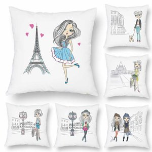 6 Styles Hand Gemälde Moderne Stadt Kissenbezüge Reisen Reise Schöne Mädchen-Dame Kissenbezug dekorativen weißen Kopfkissenbezug