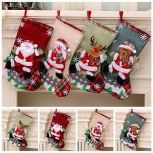 Presente doces do Natal Grande Meias Snowman Papai Noel Bolsas titulares Meias Xmas Ornamento de suspensão Decorações de Natal RRA3525