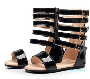 뜨거운 판매 - 아기 Littlesummer 여자 검투사 어린이 신발 로마의 여름 신발 키즈 가죽 하이힐 오픈 발가락 어린 소녀 패션 샌들