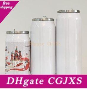 Bricolaje Botella sublimación Cola puede termo de agua de pared doble de acero inoxidable vaso aislado al vacío con la tapa
