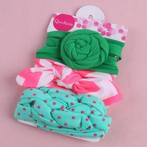 TELOTUNY baby girl 3Pcs Kids Floral Headband Girls Baby Elastic Bowknot Accessories Hairband Set hairband flower 2020apr20