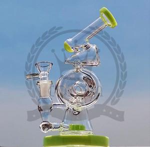 Duche Birdcage árvore Perc braço tubulação de água de vidro Hitman rosa bongs recyler roxo azul tubulação verde água de vidro preto