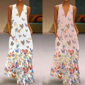 mariposa del verano del resorte de las nuevas mujeres imprimió la falda larga con cuello en V bohemio Butterfly Beach Beach falda sin mangas fuera NPPya