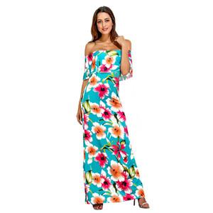 Floral Strapless Womens Designer Dresses Summer Sleeveless Slash Neck Loose Causal Blue Women Dress Plus Clothing