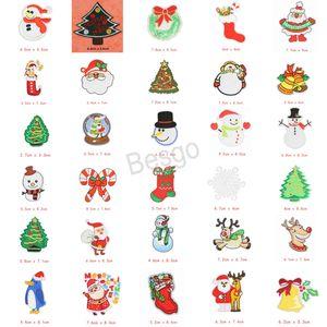 Navidad de tela Stickers Parches de Navidad para Plancha apliques Adornos de Navidad bordado de parches de tela engomada creativa BH4133 WXM