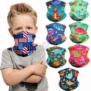 Kinder Cartoon Halb Schal Gesicht Masken Dinosaurier-Einhorn-Magie Verband Kinder Stirnband Hairwraps Facemasks Zyklus-Ansatz-Ring Kopfbedeckung D83102