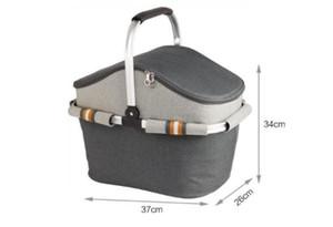 Yeni-İzotermik Çanta izolasyon torbası, Oxford kumaş piknik sepeti atlamalı sepet piknik çantası büyük buz torbası alüminyum çerçeve l
