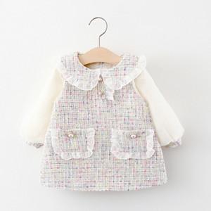 2020 Осень Infant ребёнки платье Симпатичные принцесса Одежда партии Классическая Мода Pearls Карманный фонарь рукава молнии Эпикировка